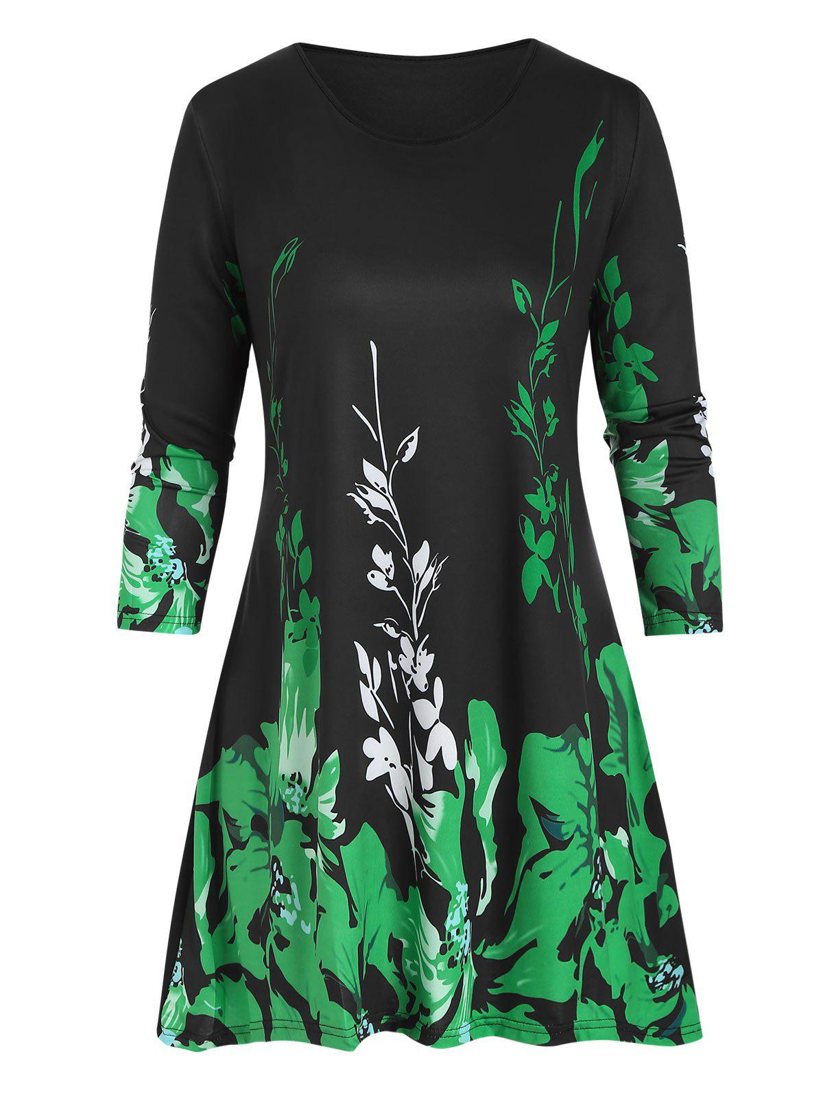 Floral Plus Size Three Quarter Sleeve Tunic Top - GREEN 3X