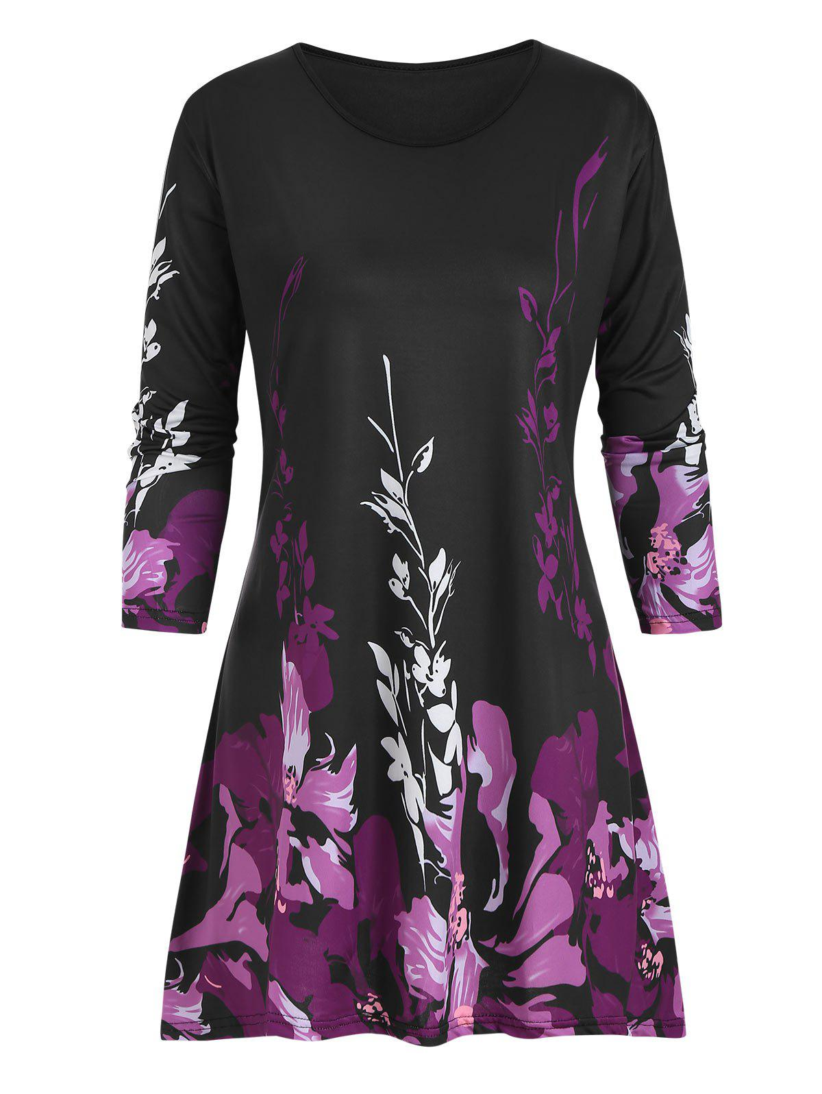 Floral Plus Size Three Quarter Sleeve Tunic Top - PURPLE 5X