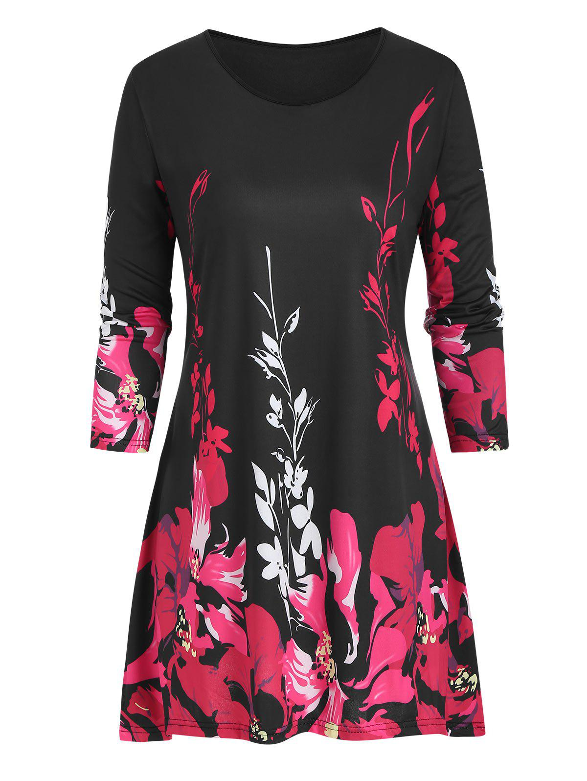Floral Plus Size Three Quarter Sleeve Tunic Top - RED 5X