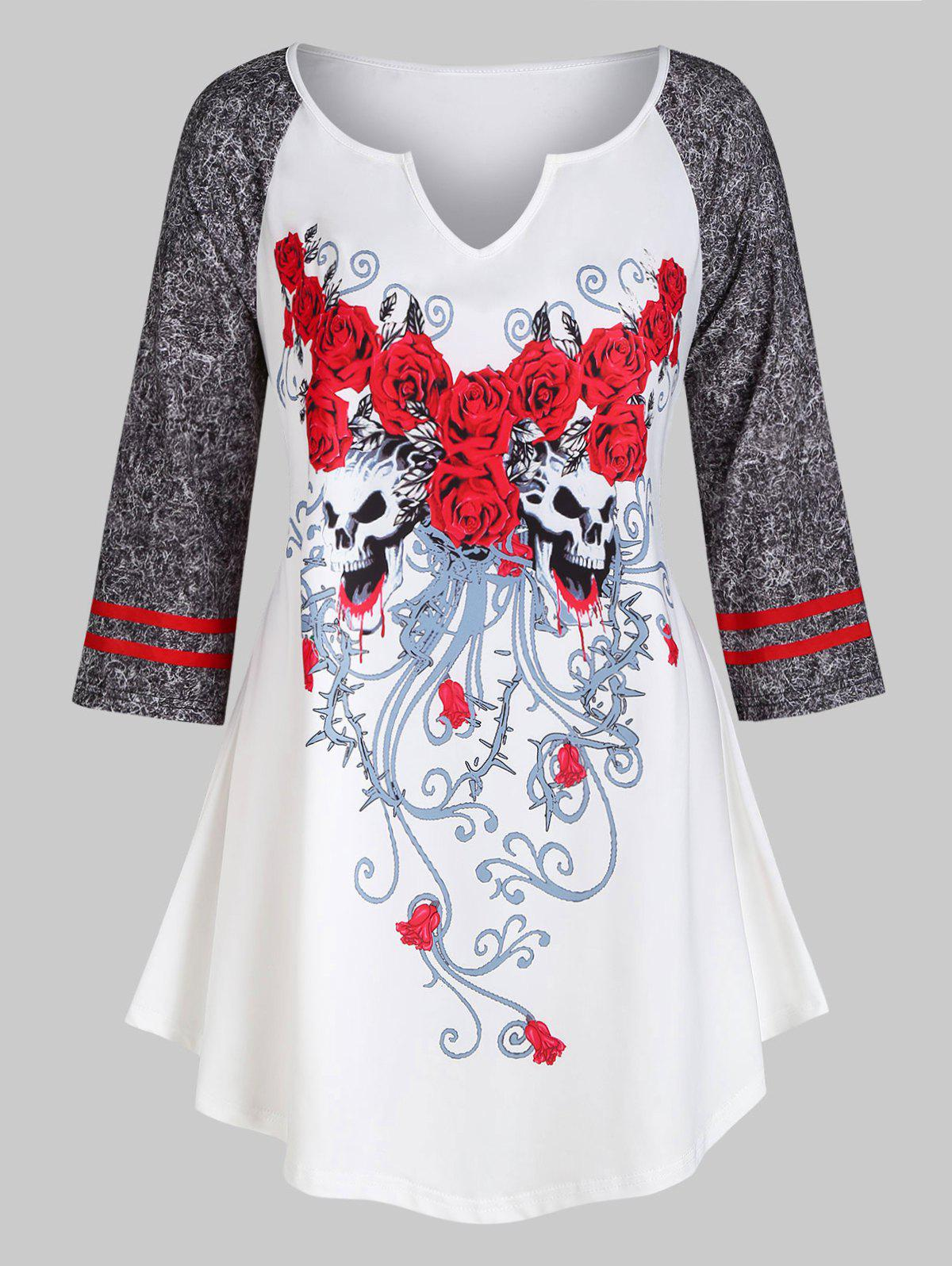 Raglan Sleeve Floral Skull Halloween Plus Size Top - WHITE L