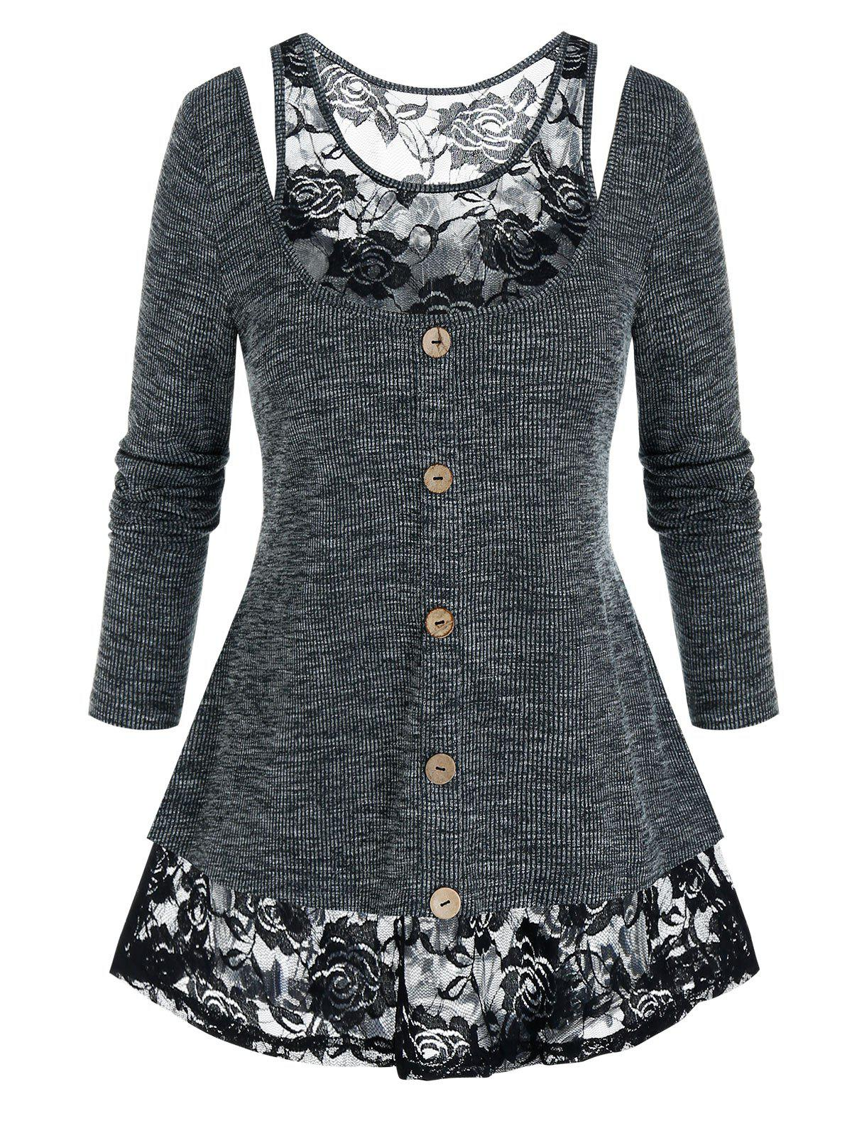 Plus Size Lace Insert Marled Cutout Long Sleeve Tee - BLACK L