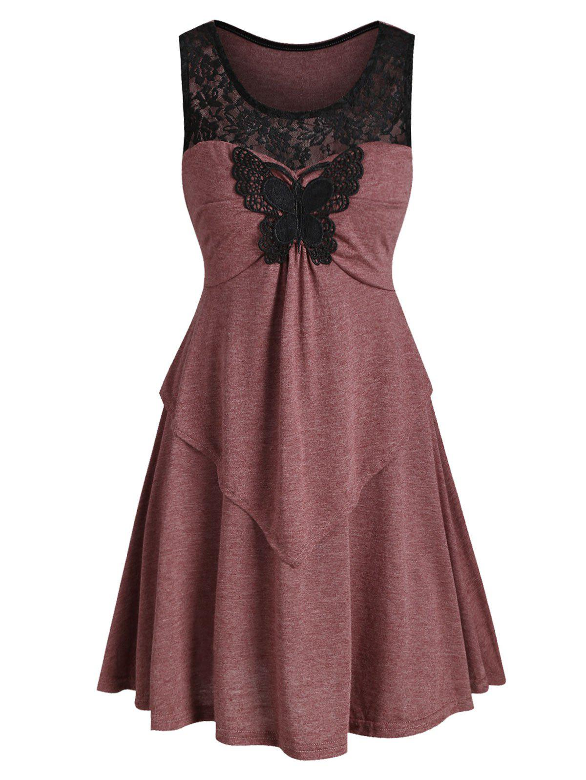 Lace Insert Butterfly Applique Tunic Dress - DEEP RED 2XL
