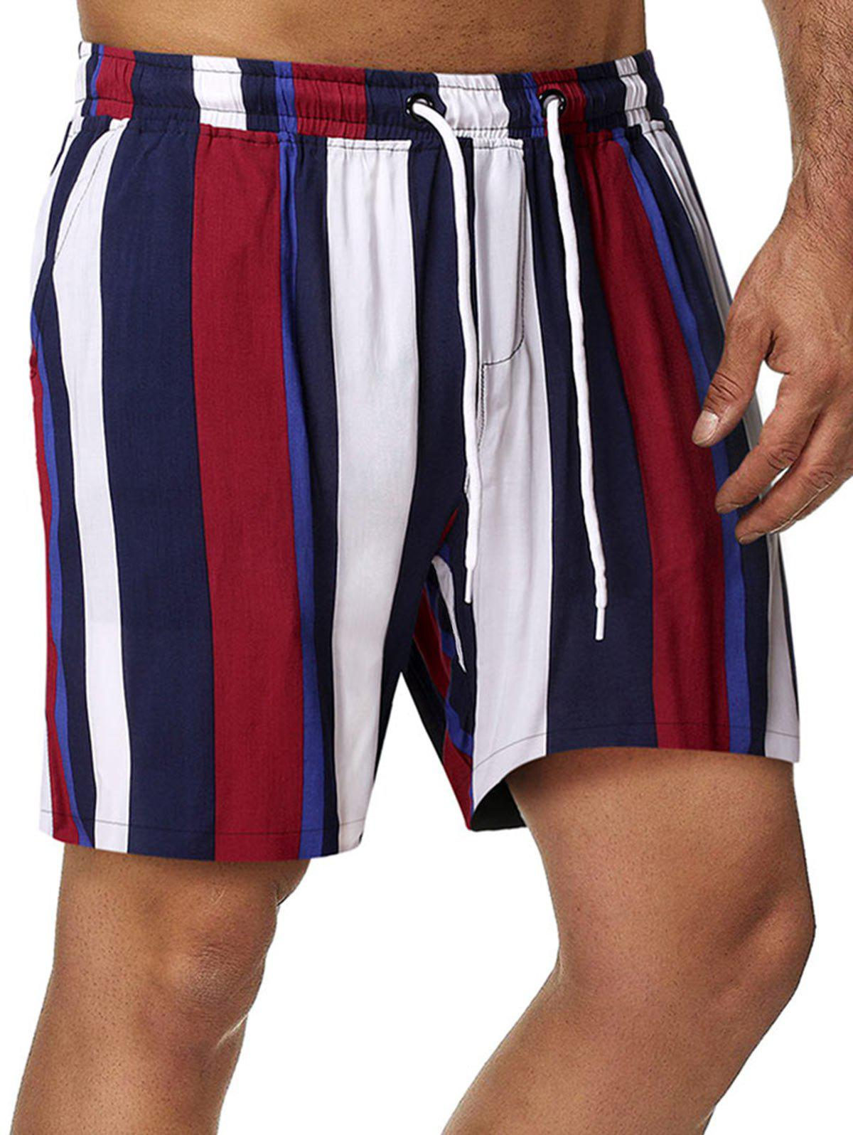 Drawstring Vertical Stripe Print Beach Shorts - multicolor S