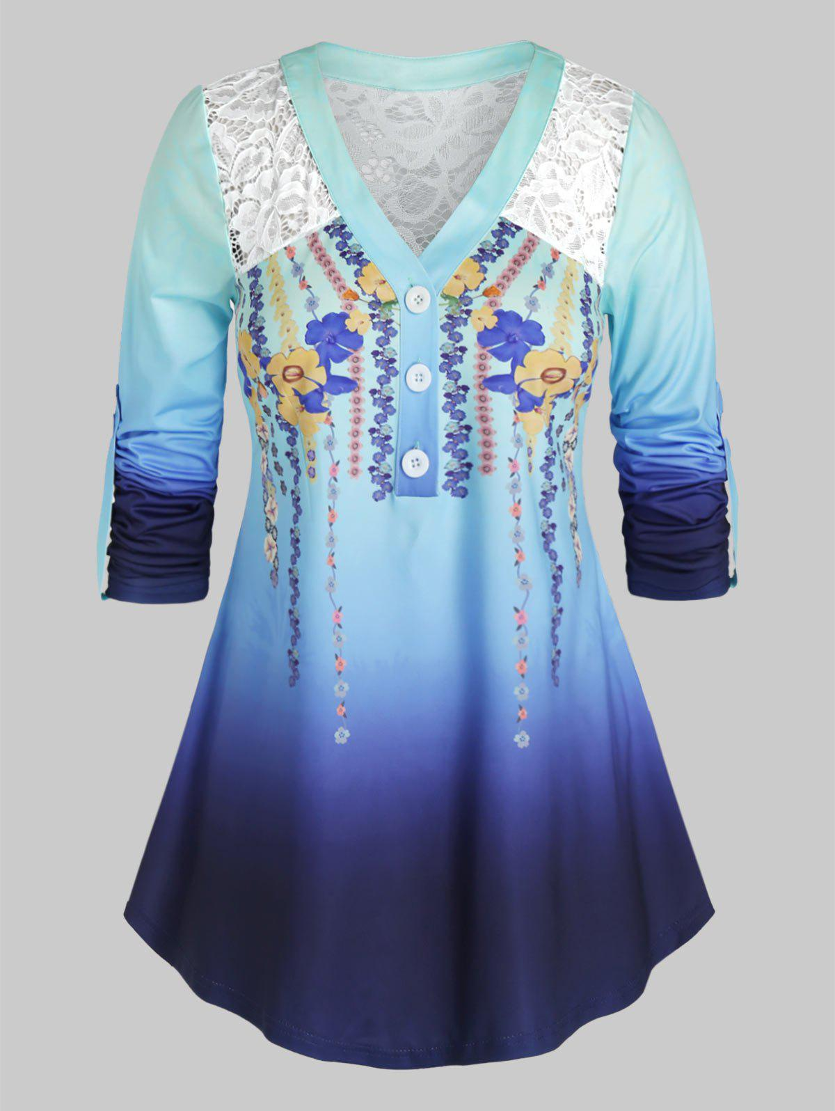 Plus Size Lace Panel Ombre Flower Roll Up Sleeve Top - OCEAN BLUE 5X