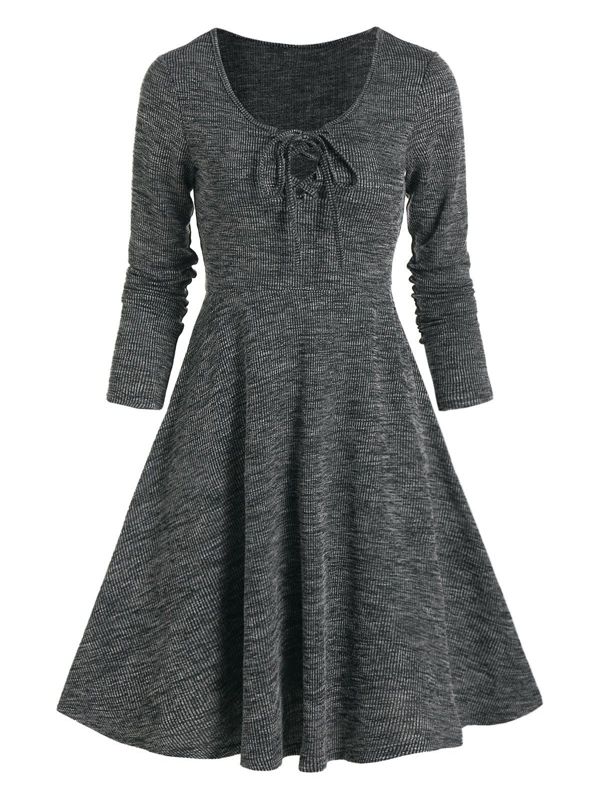 Lace Up Knitted Mini A Line Dress - ASH GRAY 3XL