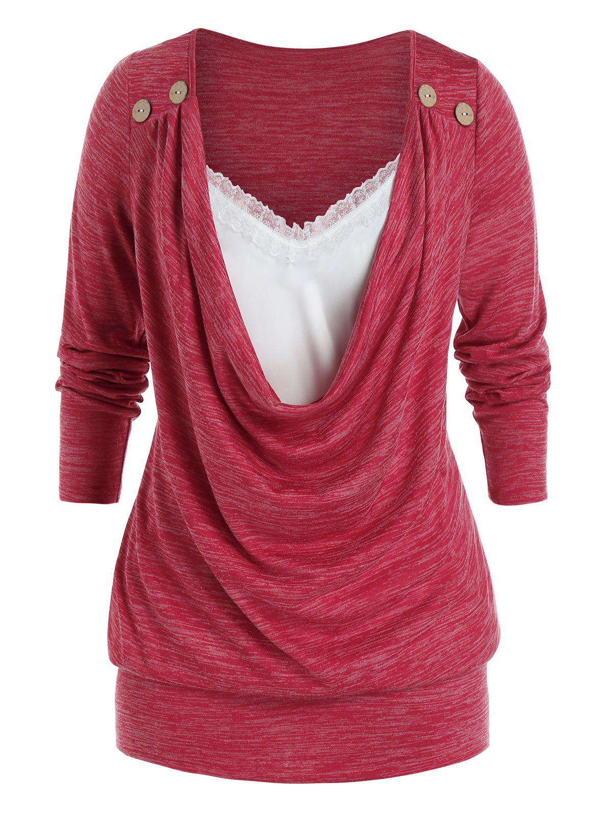 Plus Size Cowl Front Lace Panel Long Sleeve Tunic Tee - LAVA RED 5X