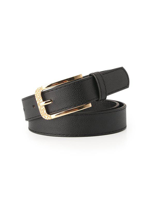 Retro Solid Engraved Pin Buckle Belt - BLACK