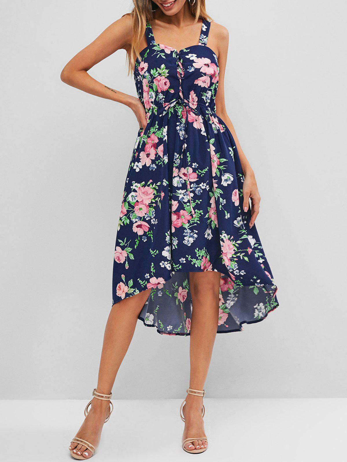 Flower Print Lace Up High Low Dress - DEEP BLUE S