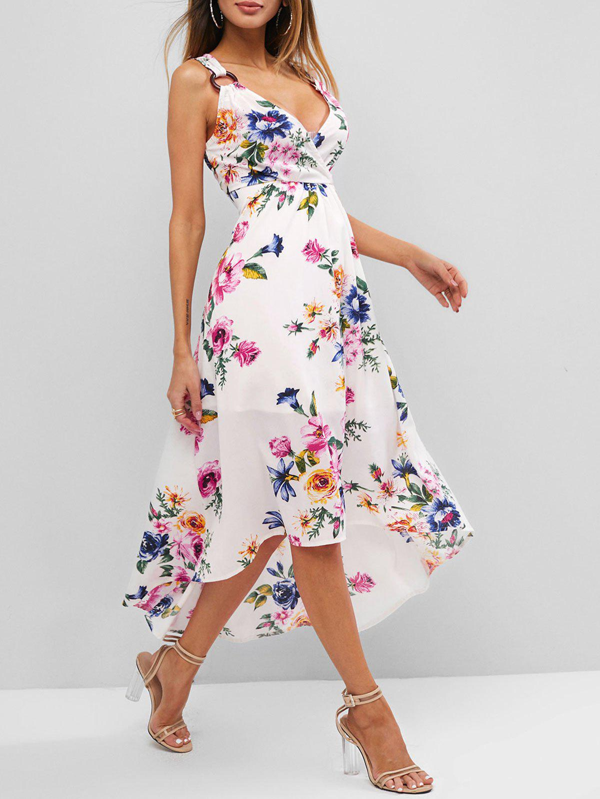 Flower Print O Ring High Low Surplice Dress - WHITE S