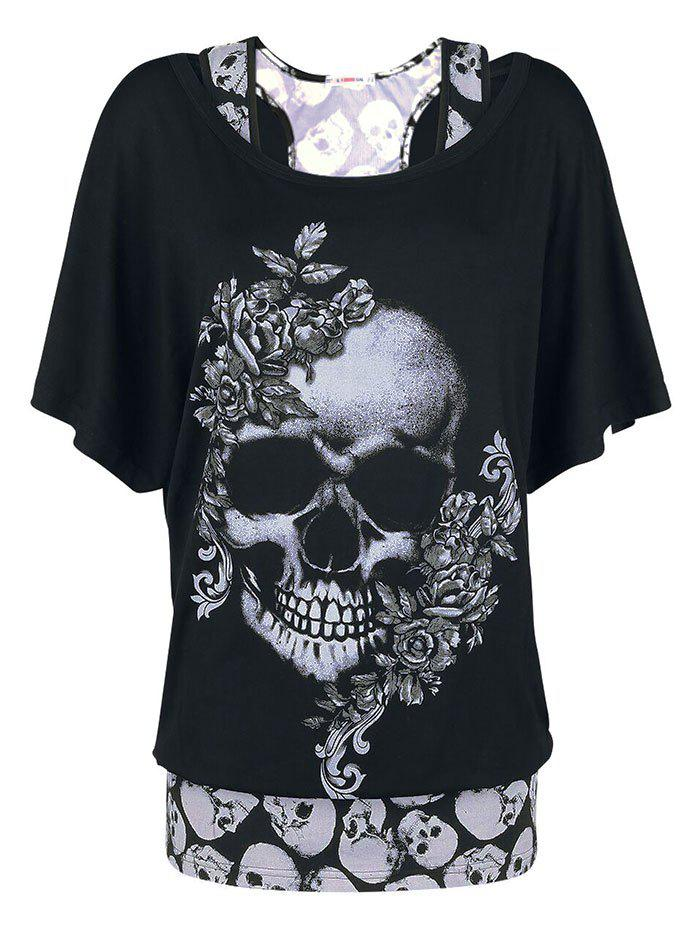Plus Size Halloween Floral Skull Print T-shirt and Tank Top Set - BLACK 5X