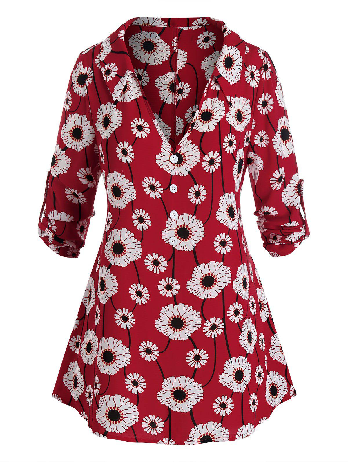 Plus Size Flower Print Plunge Roll Up Sleeve Tunic Top - RED 5X