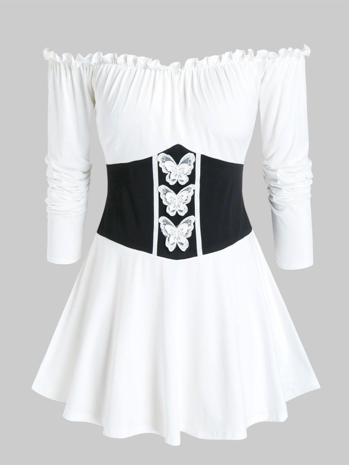 Plus Off Shoulder Frilled Butterfly Long Sleeve Tee - WHITE L