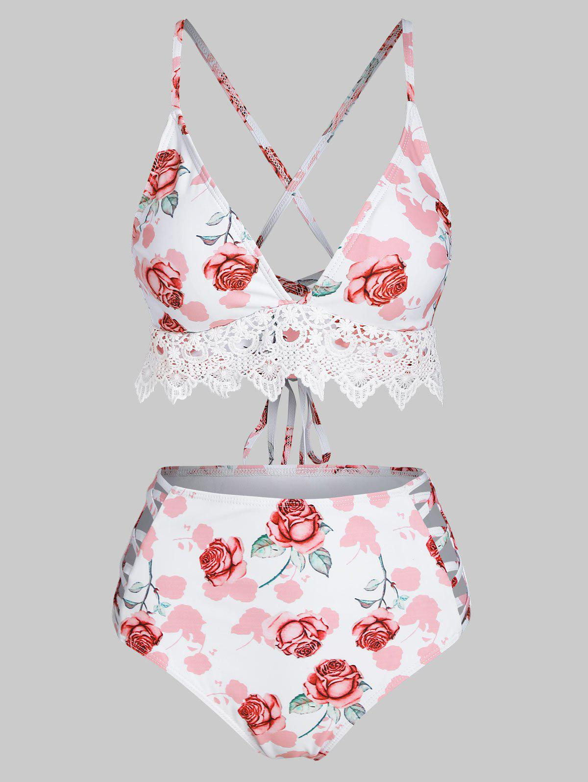 Crochet Lace Panel Rose Print Lace-up Crisscross Bikini Swimwear - LIGHT PINK L