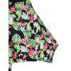Plus Size Leaf Printed Padded Tankini Set - BLACK 3X