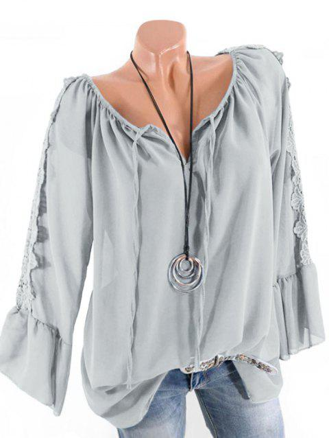 Plus Size Multiway Bell Sleeve Guipure Panel Blouse