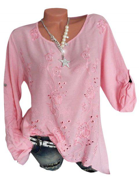 Plus Size Embroidery Eyelet Roll Up Sleeve Blouse