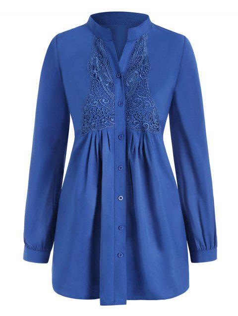 Plus Size Button Up Butterfly Lace Panel Shirt