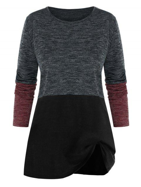 Plus Size Contrast Color-blocking Long Sleeve Sweater