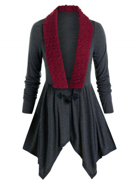 Plus Size Cable Knit Insert Horn Button Cardigan
