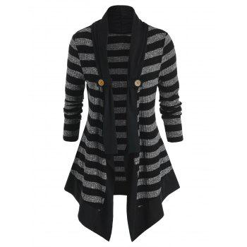 Plus Size Striped Open Front Tunic Cardigan
