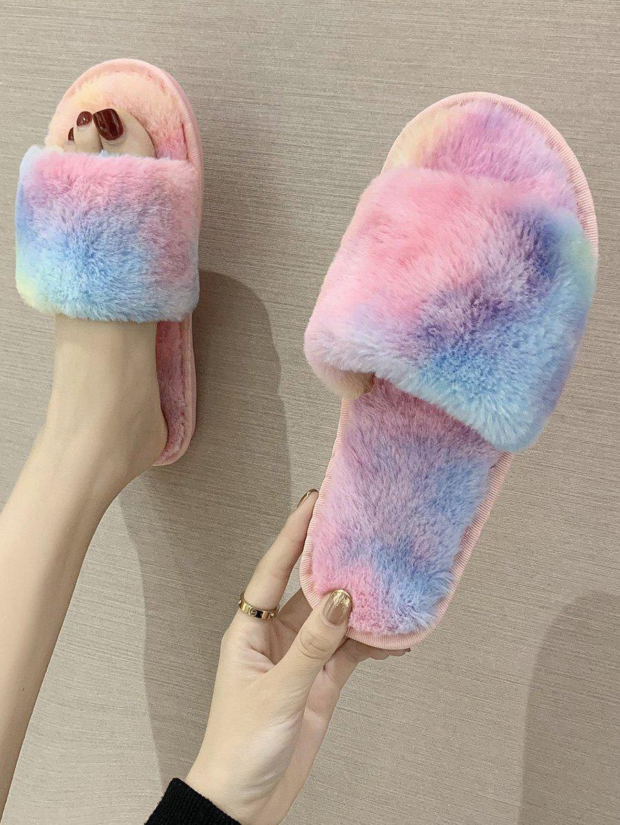 Gradient Color Faux Fur Flat Slippers - BLUE KOI EU 39