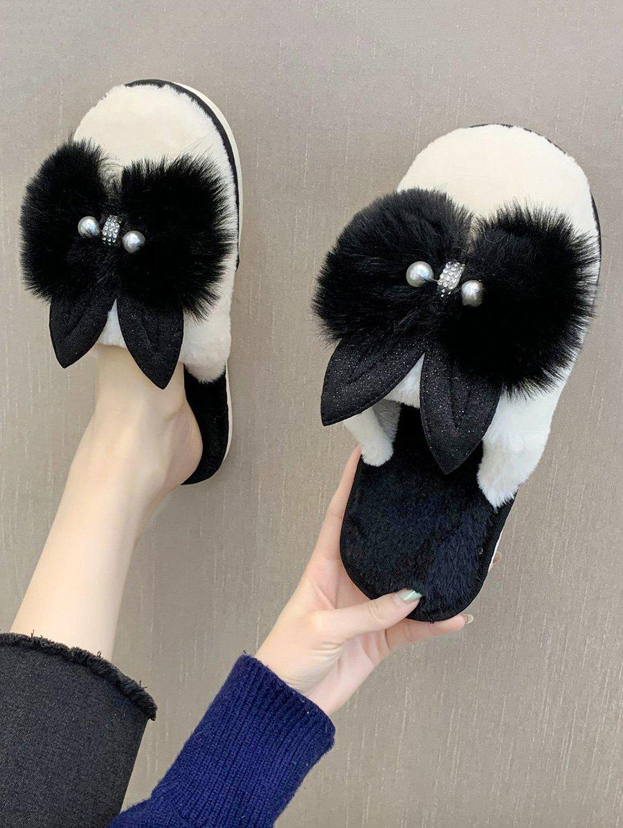 Bowknot Faux Pearl Plush Outdoor Slippers - BLACK EU 38
