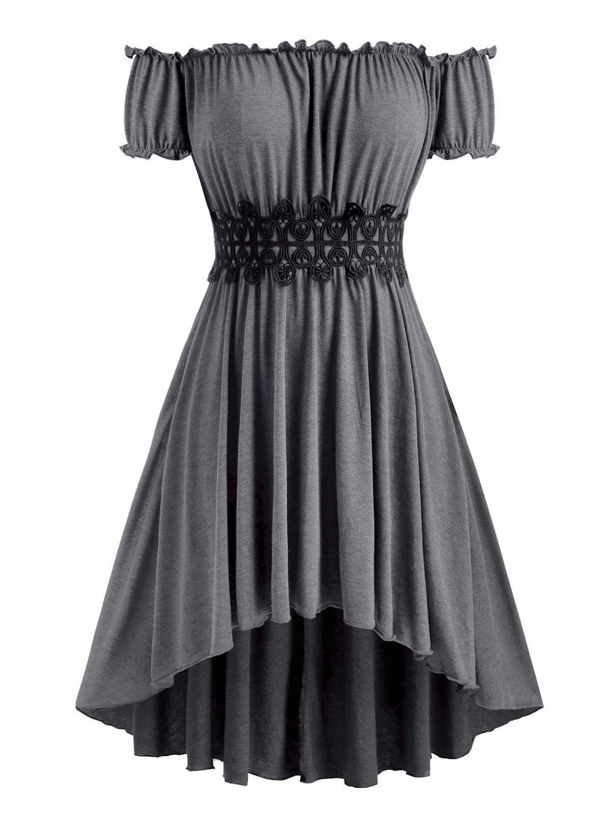 Plus Size Off The Shoulder High Low Midi Dress - GRAY 5X