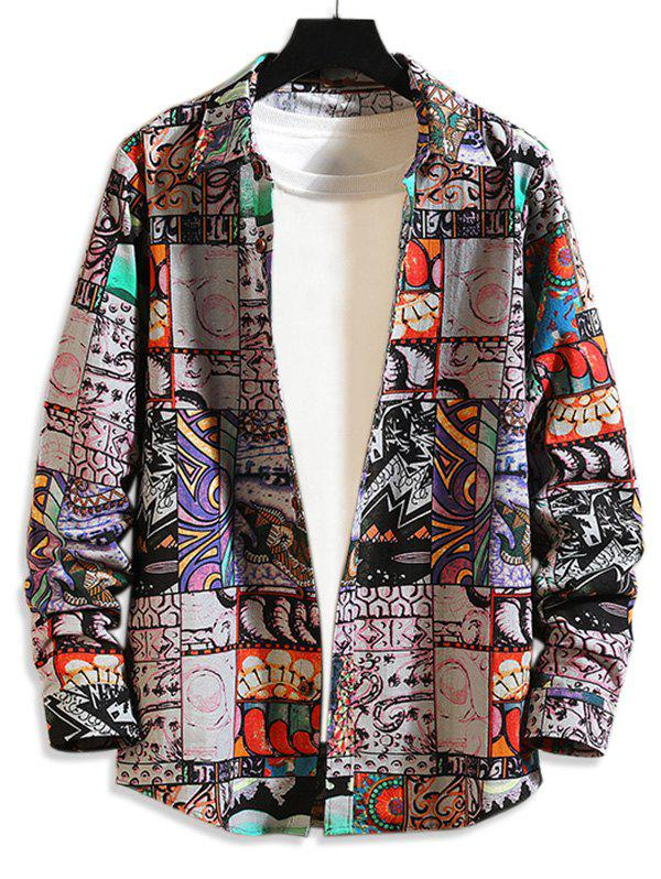 Comic Graphic Print Casual Shirt - multicolor A M