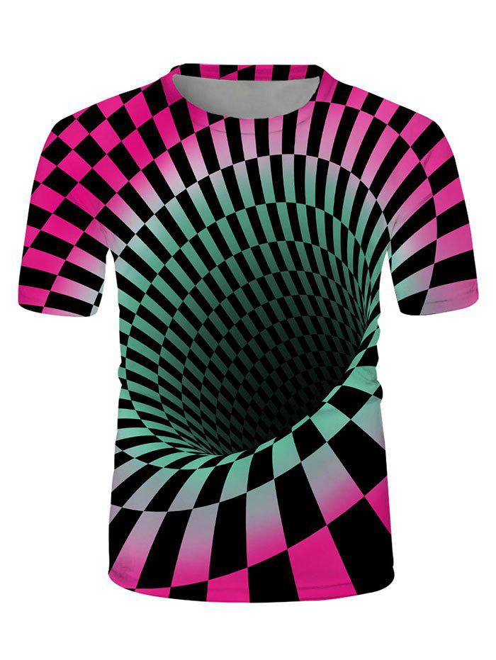 Checked Spiral Graphic Crew Neck Lounge T Shirt - multicolor 3XL