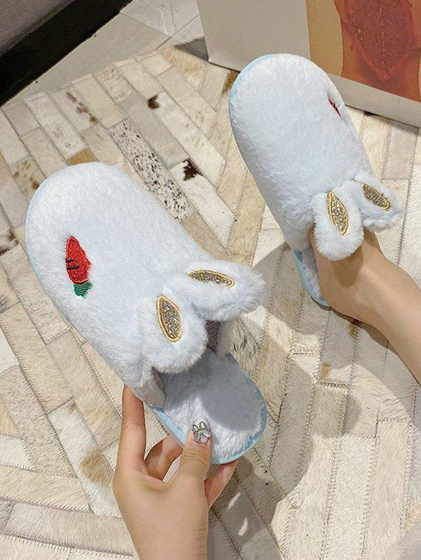 Faux Fur Rabbit Ear Carrot Slippers - LIGHT AQUAMARINE EU 38
