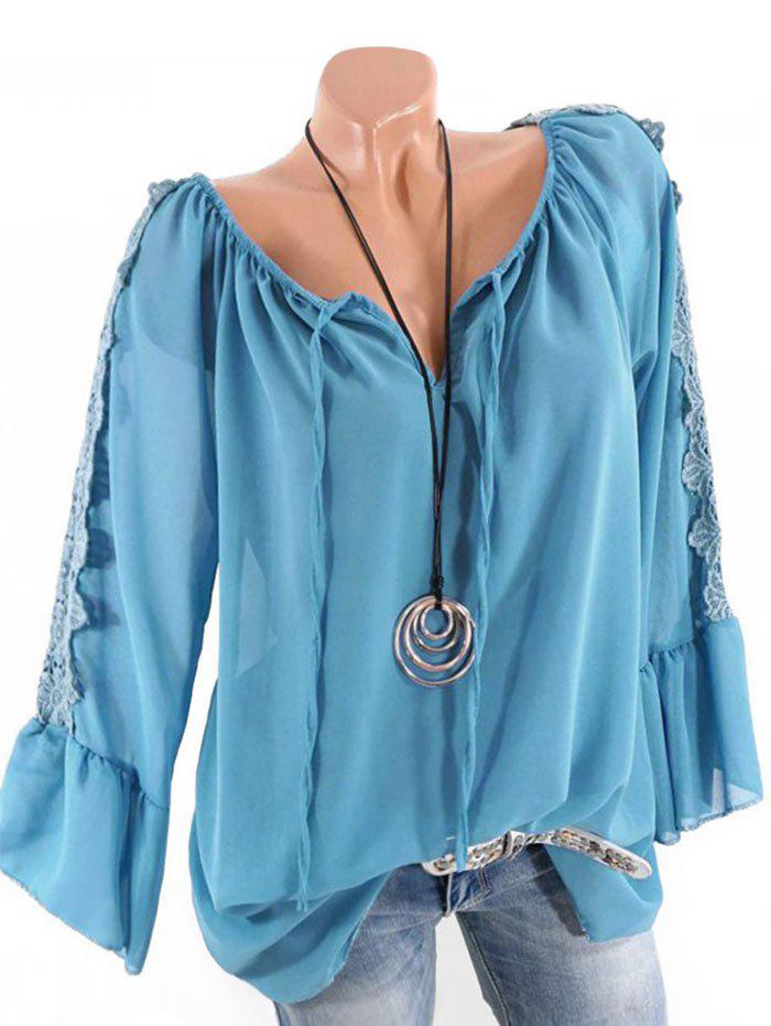 Plus Size Multiway Bell Sleeve Guipure Panel Blouse - LIGHT BLUE 5X