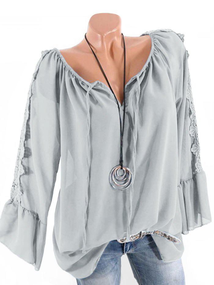 Plus Size Multiway Bell Sleeve Guipure Panel Blouse - LIGHT GRAY 5X