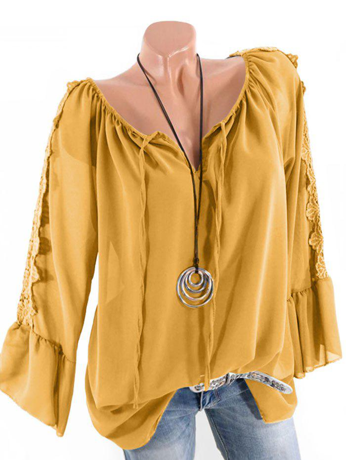 Plus Size Multiway Bell Sleeve Guipure Panel Blouse - DEEP YELLOW 5X