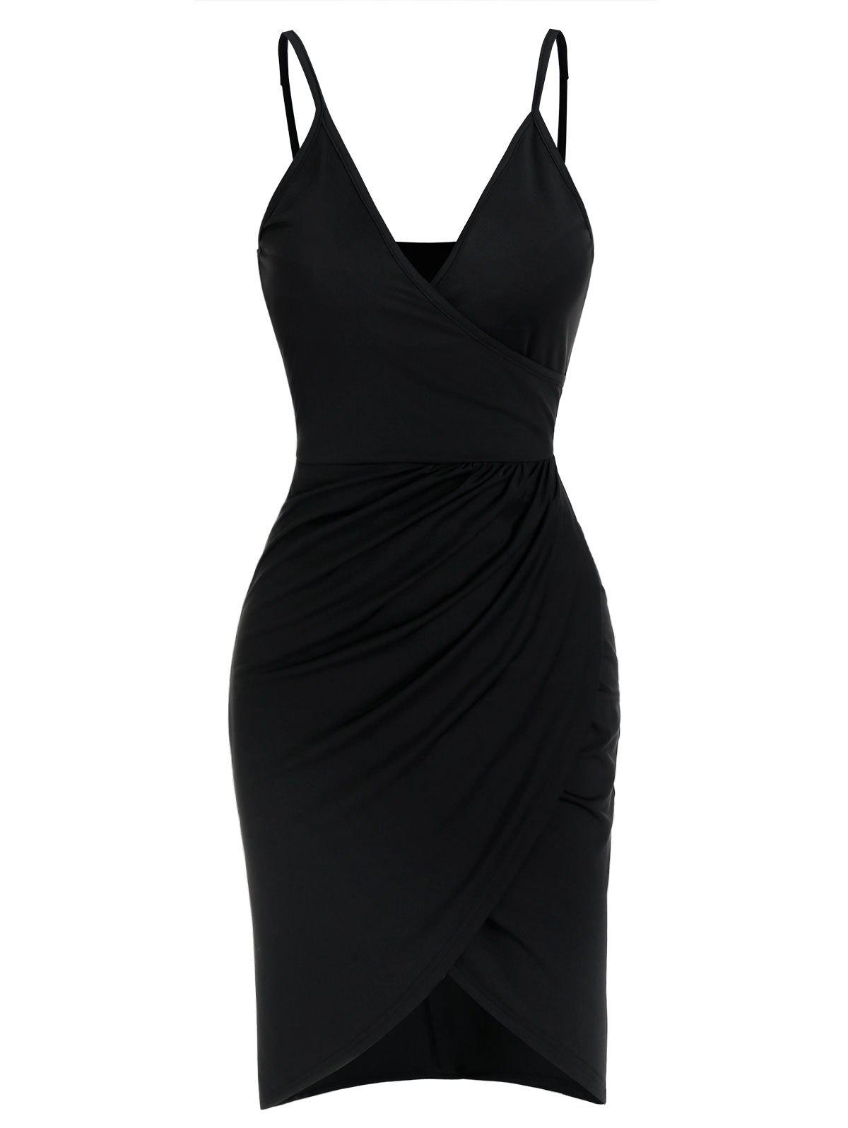 Draped Wrap Spaghetti Strap Dress - BLACK 3XL