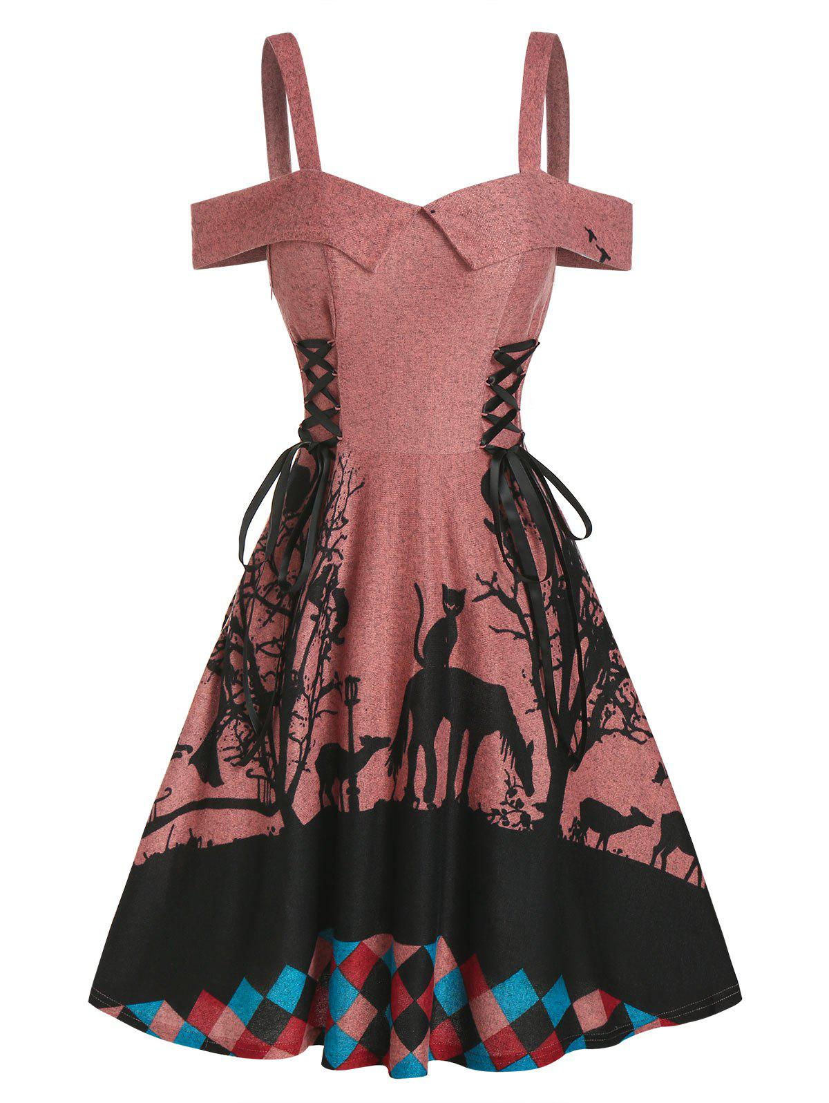 Tree Animal Print Side Lace Up Knitted A Line Dress - CHERRY RED M