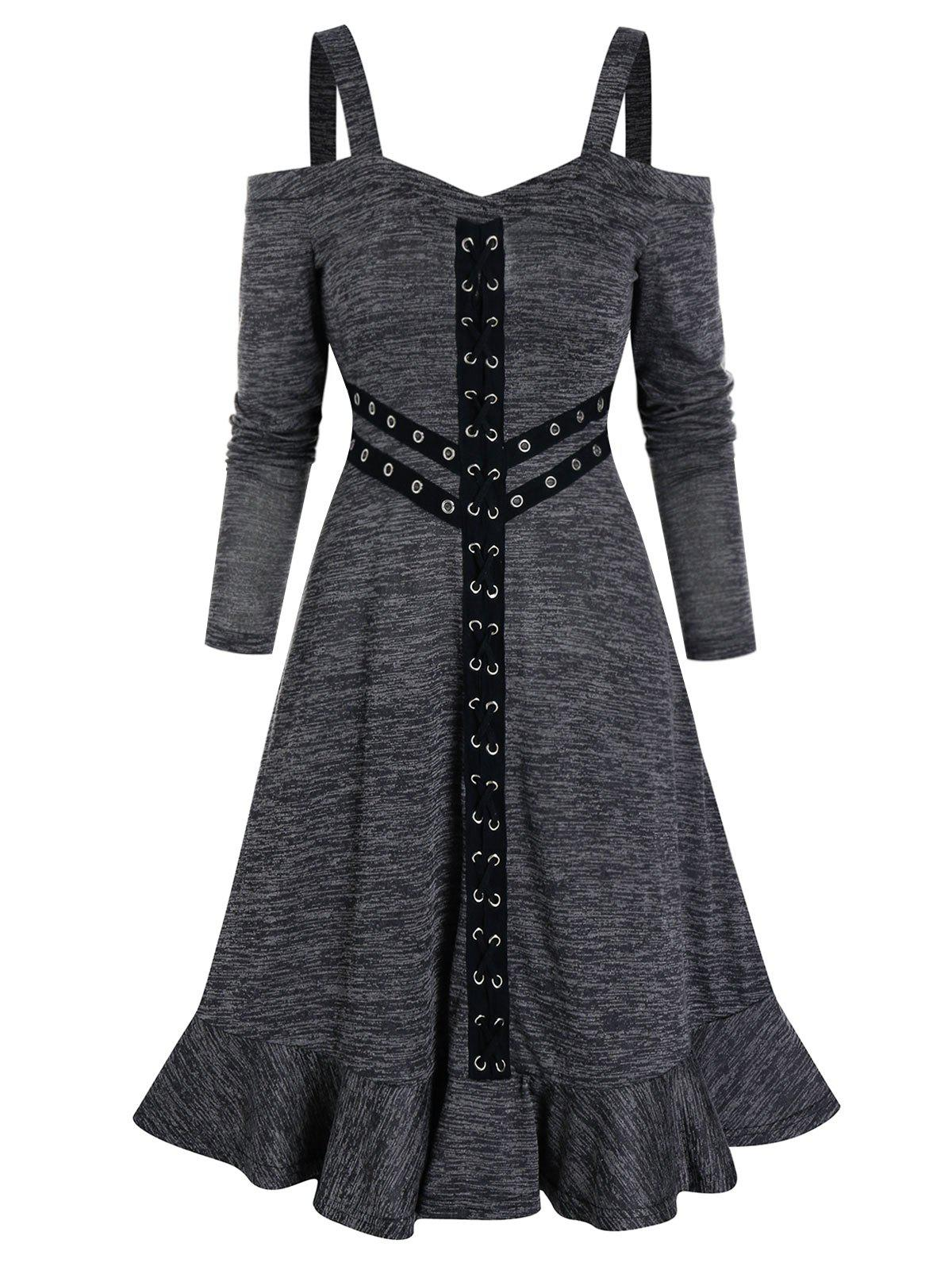 O Ring Flounce Cold Shoulder Dress - DARK GRAY 3XL