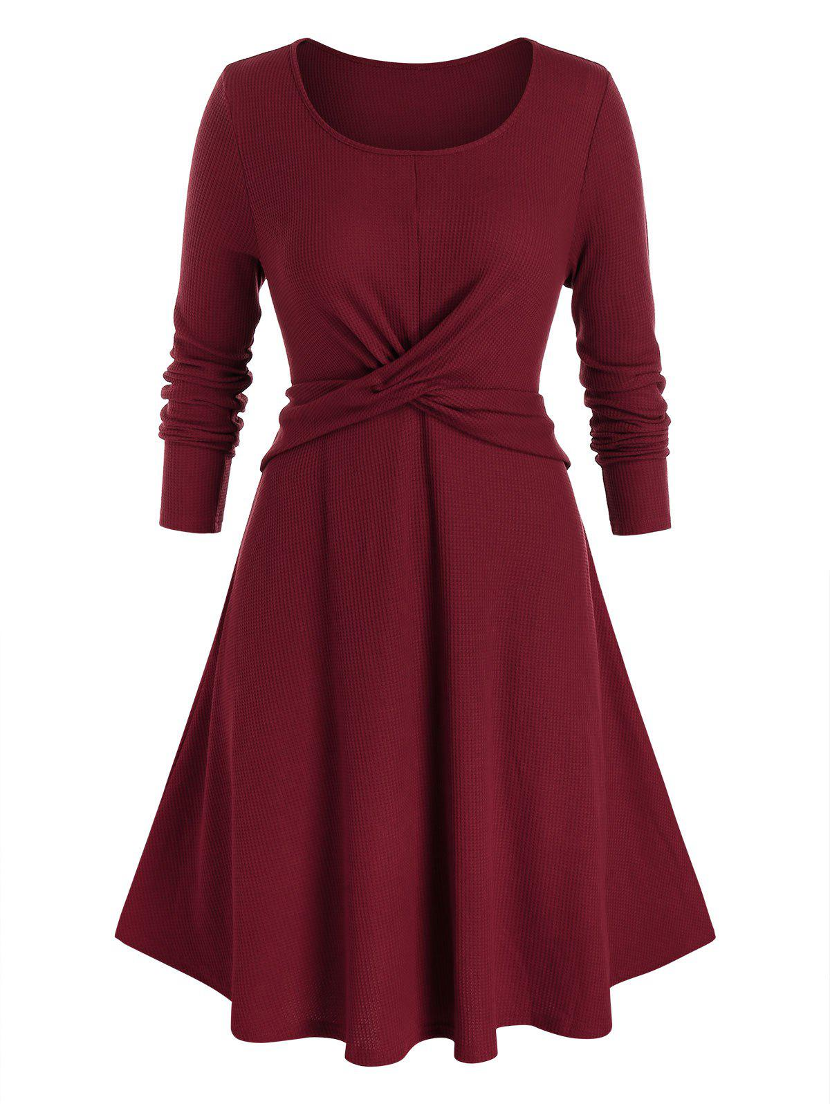 Plus Size A Line Front Cross Dress - RED WINE 5X