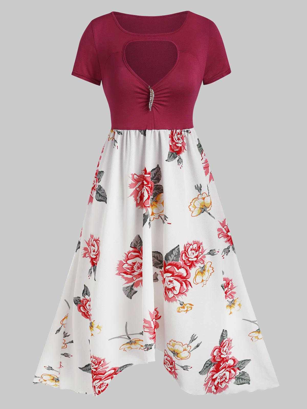 Flower Print Cut Out Brooch Embellished Dress - RED 2XL