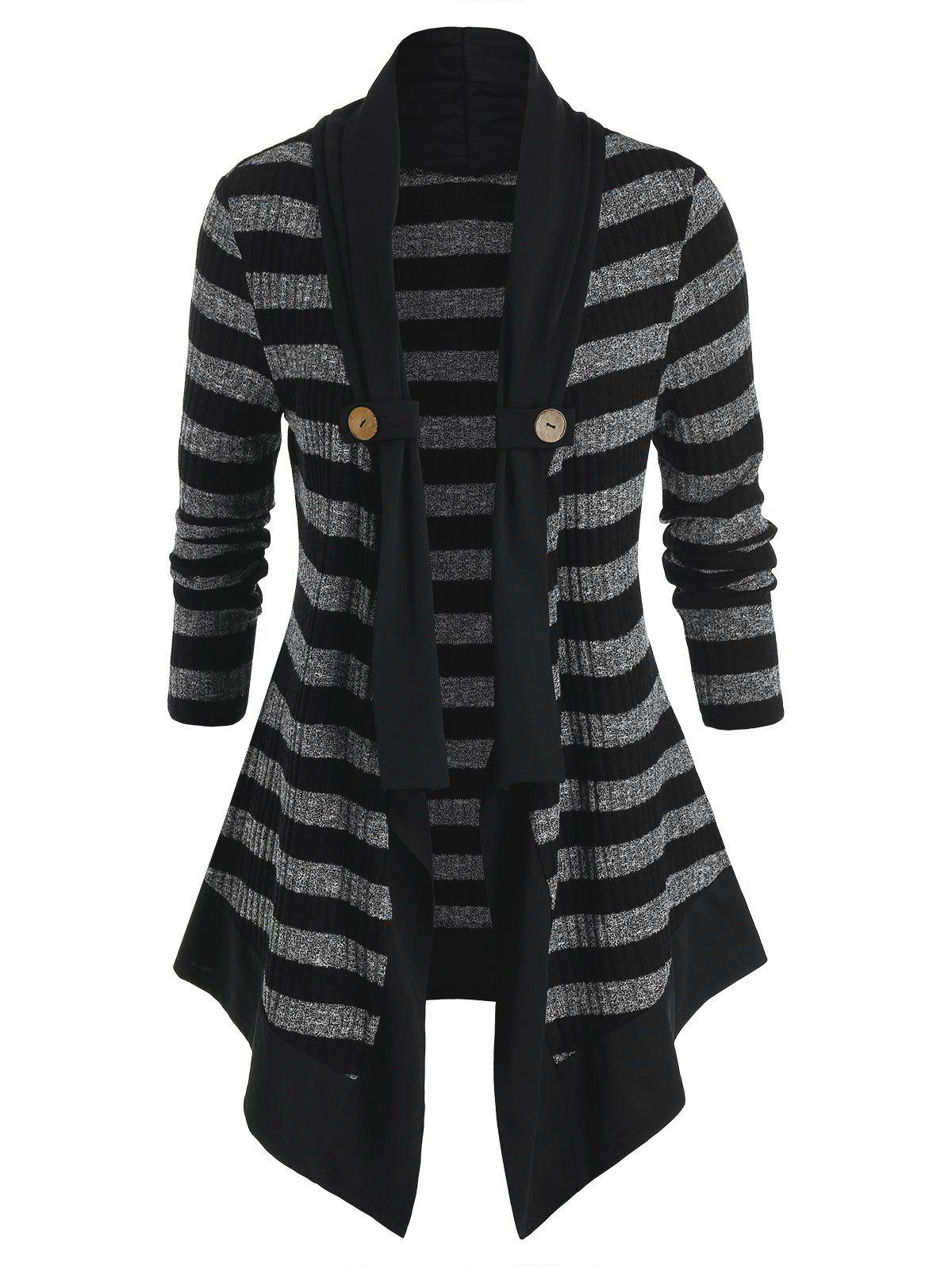 Plus Size Striped Open Front Tunic Cardigan - BLACK 1X