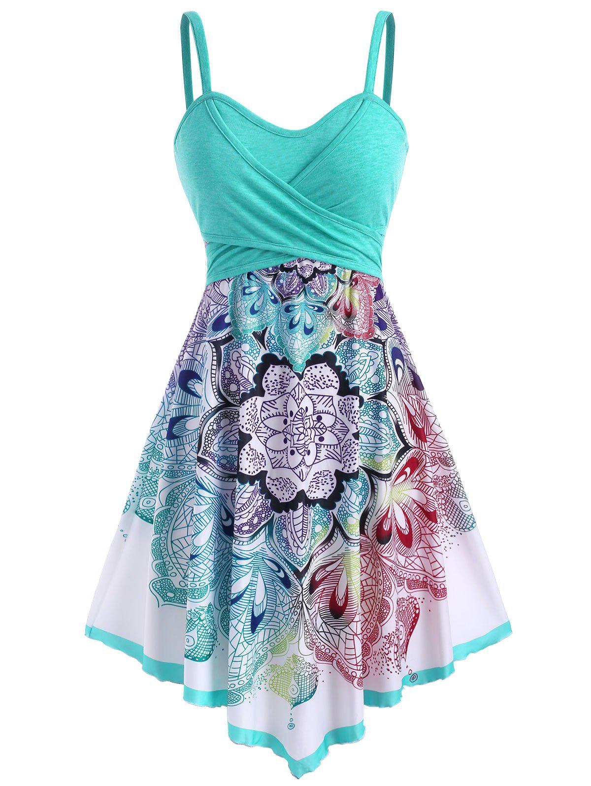 Bohemian Flower Crossover Empire Waist Dress - multicolor L