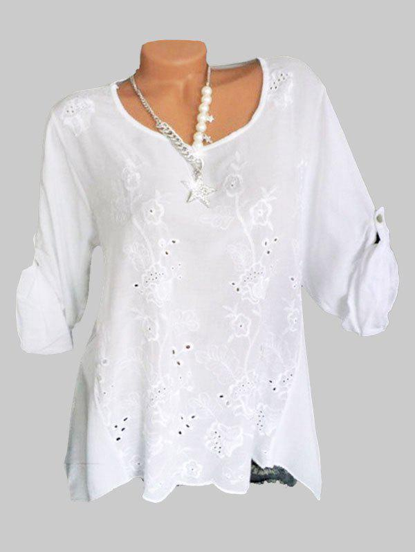 Plus Size Embroidery Eyelet Roll Up Sleeve Blouse - WHITE 4X