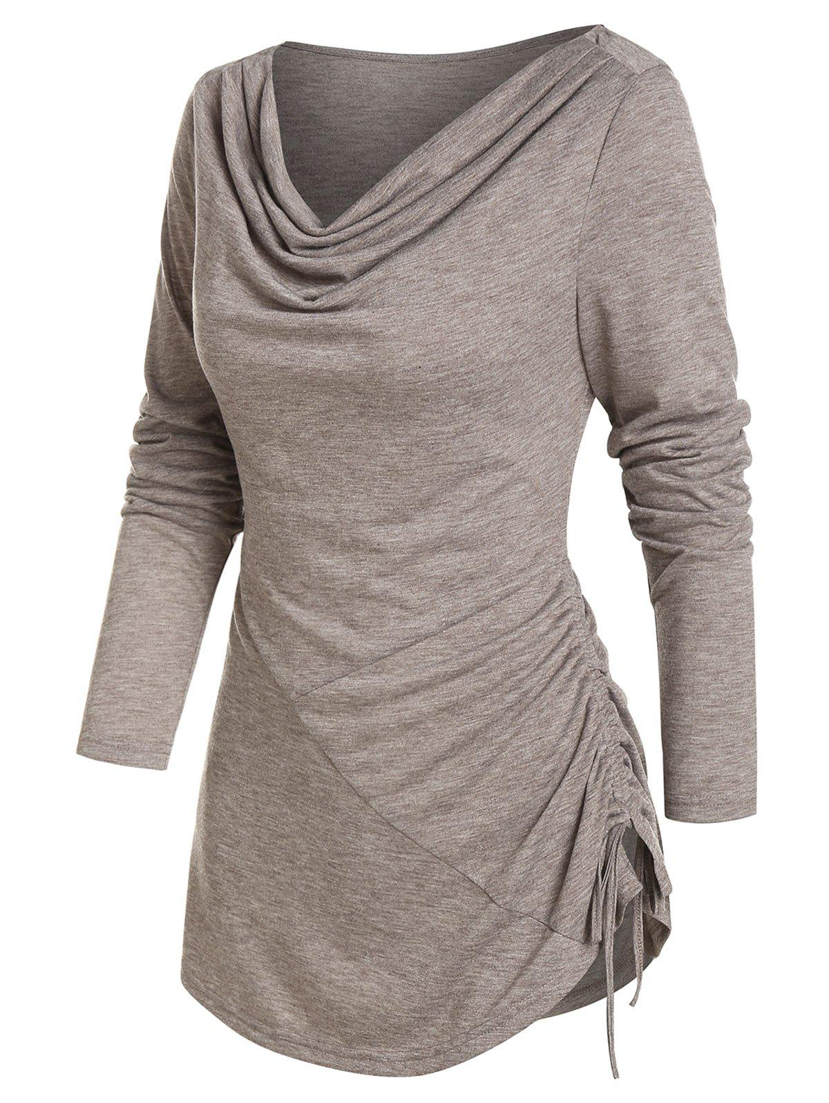 Cowl Neck Cinched Hem Asymmetrical T Shirt - COFFEE 2XL