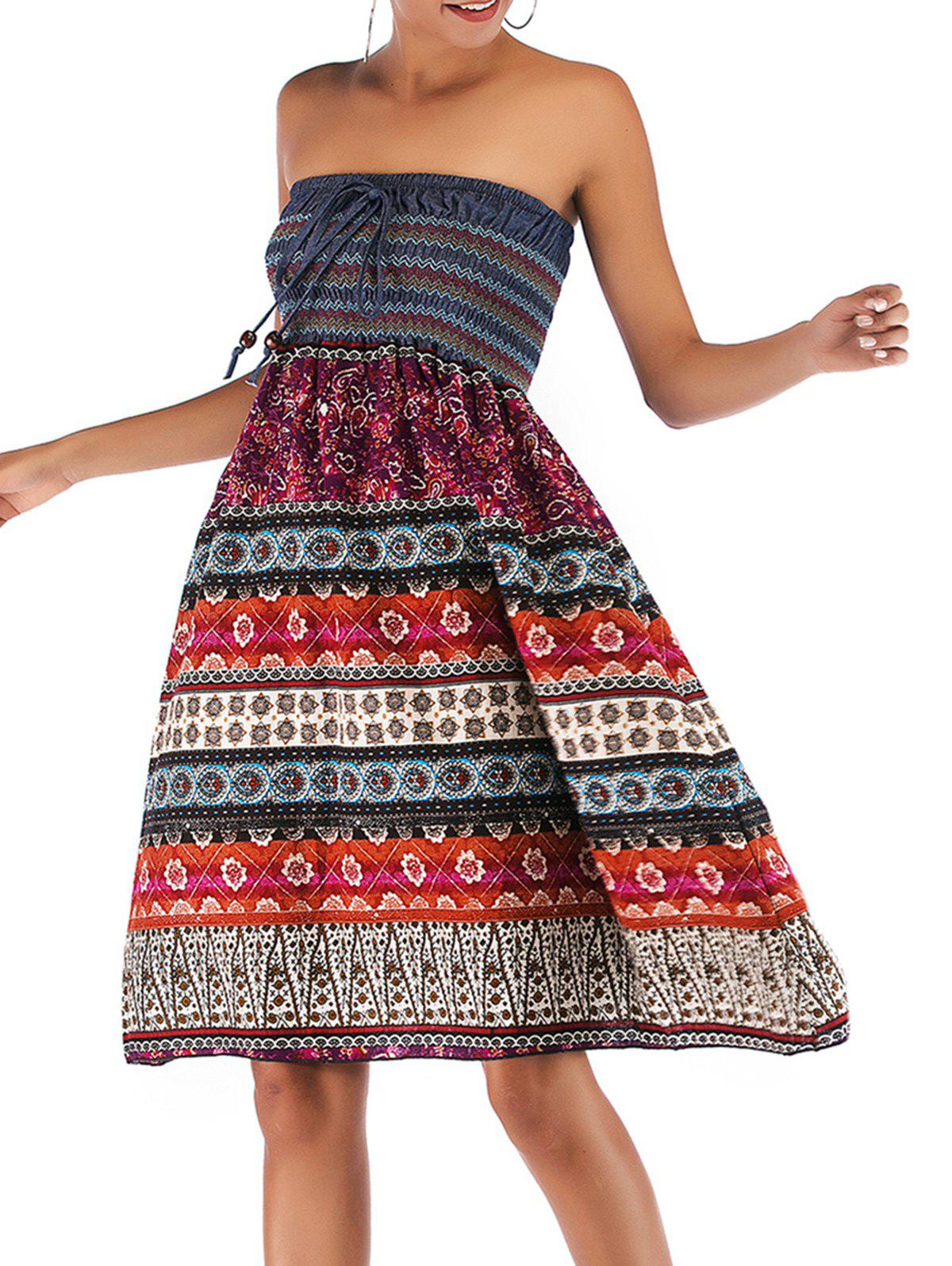 Bohemian Printed Shirred Convertible Bandeau Dress - RED L