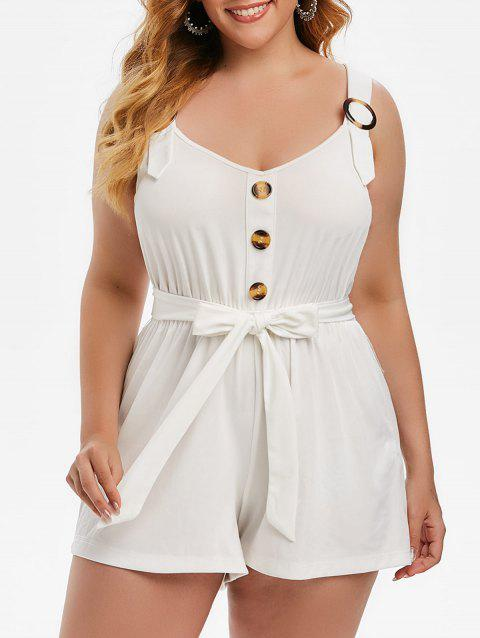 Plus Size Buttoned Sweetheart Neck Belted Romper