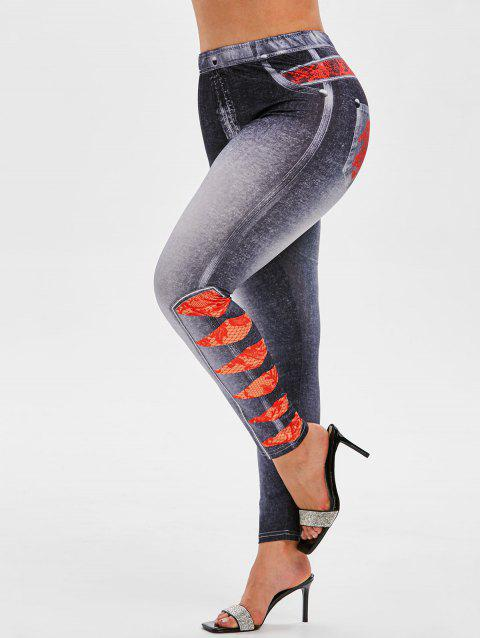 Plus Size High Rise 3D Lace Ripped Jean Print Jeggings