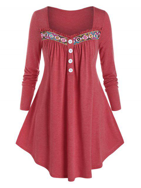Plus Size Frilled Embroidered Long Sleeve Round Hem Tee