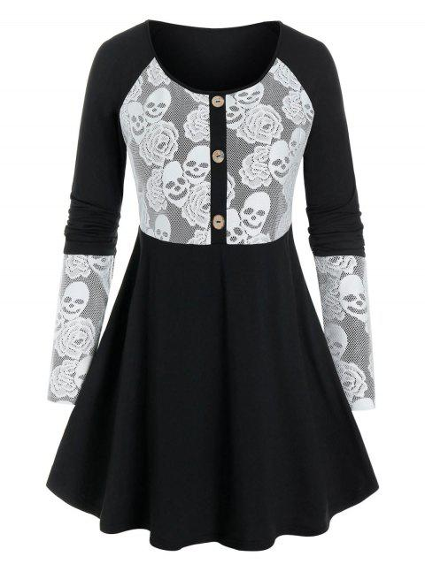 Plus Size Skull Lace Skirted T Shirt
