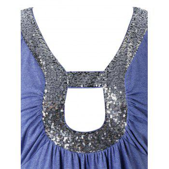Plus Size Sequined Hollow Out Short Sleeve Tunic Tee