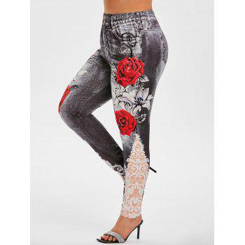 3D Print Floral High Waisted Plus Size Jeggings