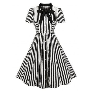 Plus Size Pussy Bow Striped Button Up Shirt Dress
